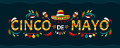 istock Cinco de mayo.May 5 holiday in Mexico. Poster with grunge texture. Chili peppers and sombrero. Cartoon style. Vector banner. 1211586166