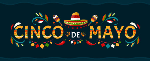 Cinco de mayo.May 5 holiday in Mexico. Poster with grunge texture. Chili peppers and sombrero. Cartoon style. Vector banner. Cinco de mayo.May 5 holiday in Mexico. Poster with grunge texture. Chili peppers and sombrero. Cartoon style. Vector banner. cinco de mayo stock illustrations