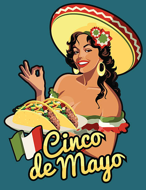 Cinco e mayo mexican girl Mexican Woman holding tacos mexican restaurant stock illustrations
