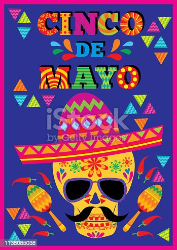 Cinco de mayo design with skull put on sombrero decorated with maracas and lettering