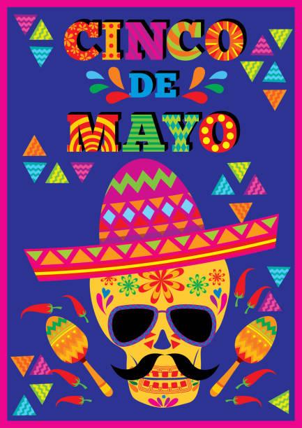 cinco-de-mayo-skull-poster - vertical stock illustrations, clip art, cartoons, & icons