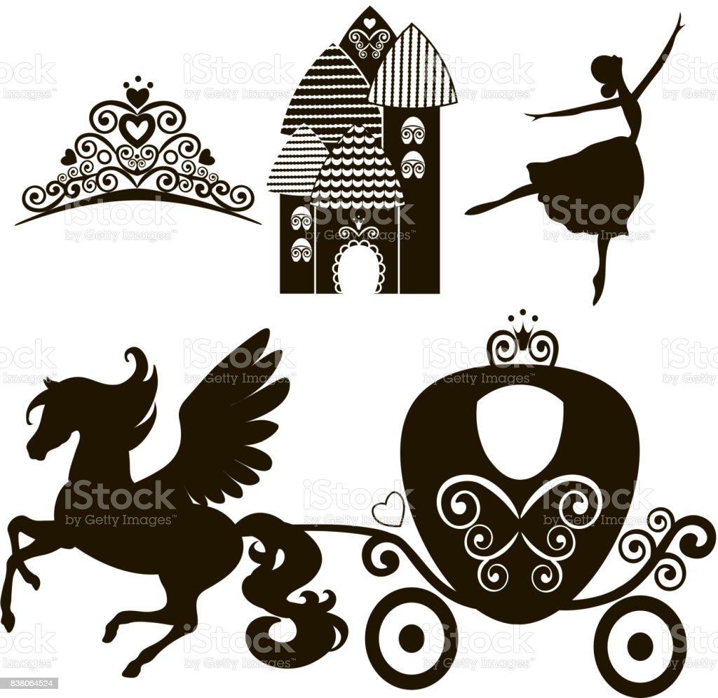 Cinderella-Reihe von Sammlungen. Krone, Vektor-Illustration. Design-Elemente für die kleine Prinzessin, Glamour-Girl. Karten für Geburtstag, Hochzeit Einladung. die Beförderung, den Palast, Pegasus, tanzen, Tiara. – Vektorgrafik
