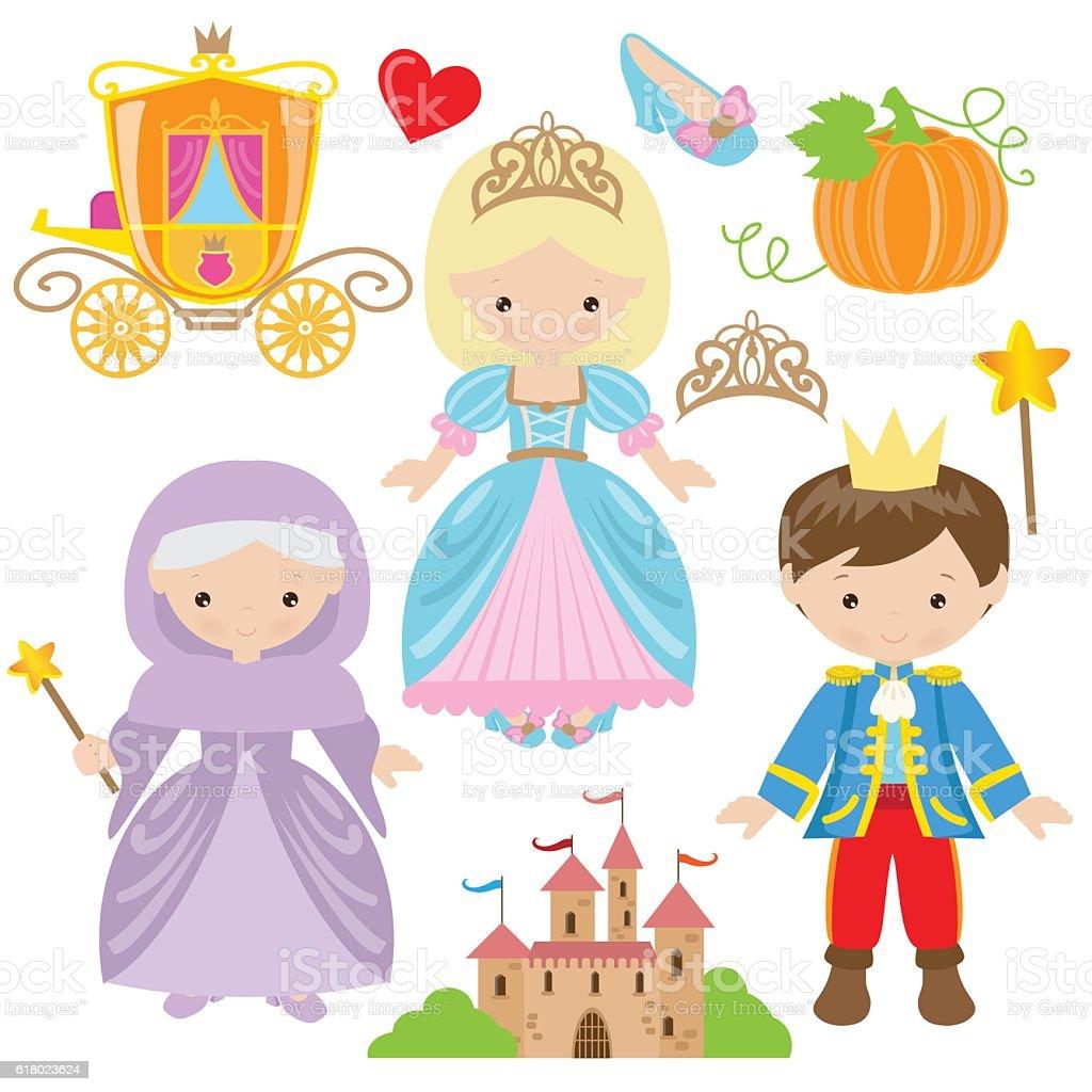 Cinderella vector cartoon illustration – Vektorgrafik