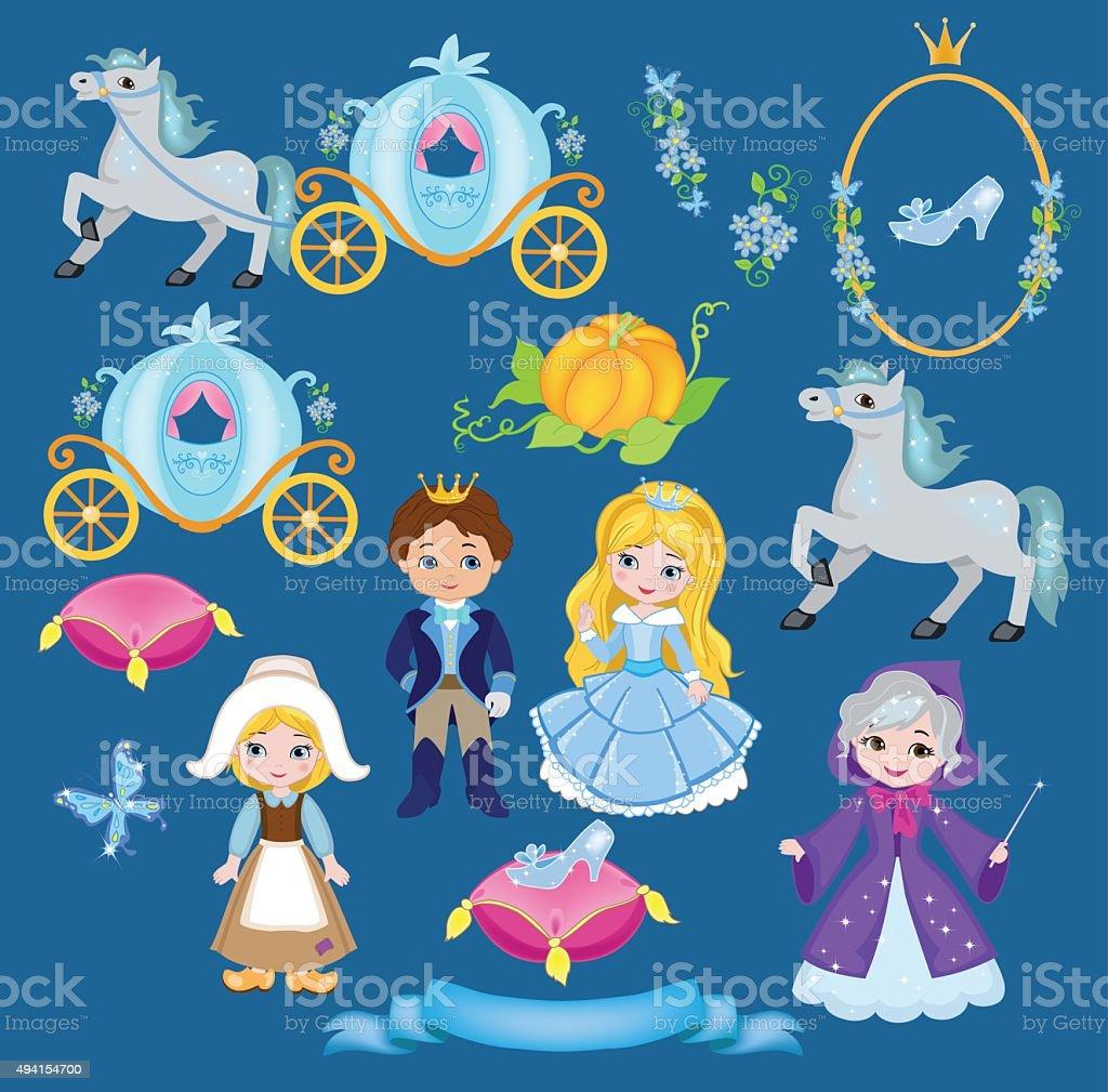 Cinderella Vektor-illustration-set – Vektorgrafik
