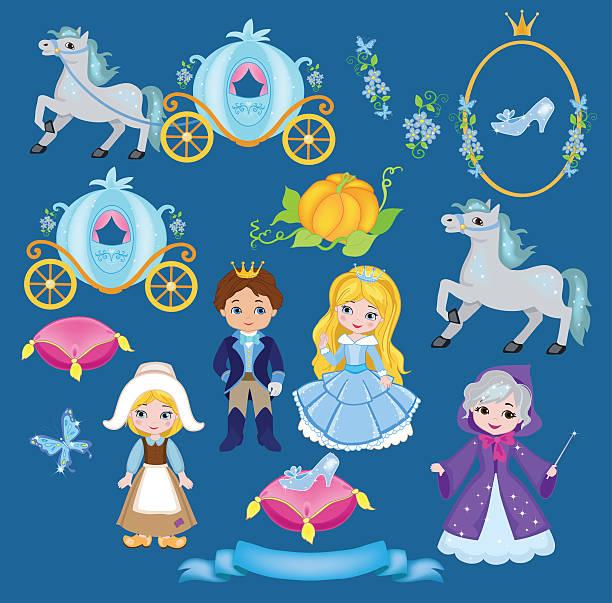 cinderella vektor-illustration-set - prince stock-grafiken, -clipart, -cartoons und -symbole