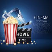 Cinema 3d movie vector background with popcorn and vintage film. Retro cinema poster. Banner cinema and movie film illustration