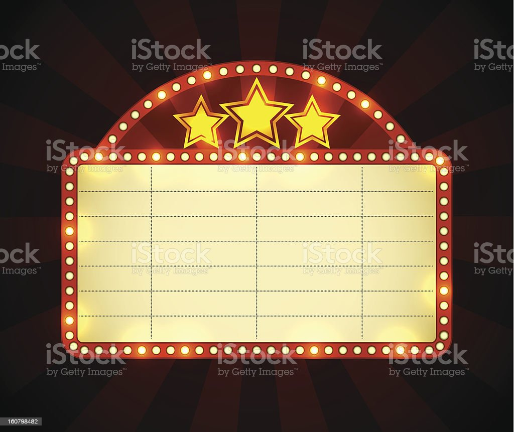 Cinema advertisement sign vector art illustration