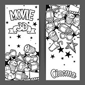 Cinema and 3d movie advertising banners in cartoon style.