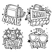 Cinema and 3d movie advertising designs in cartoon style.