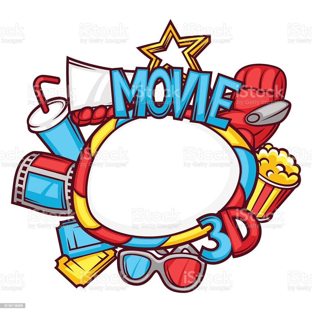 Cinema And 3d Movie Frame In Cartoon Style - Arte vectorial de stock ...
