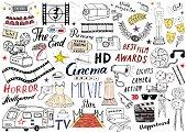 Cinema and Film Industry Set. Hand Drawn Sketch, Vector Illustration