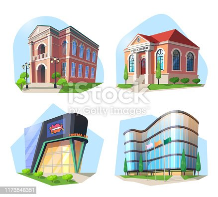 Set of isolated modern buildings and skyscraper. Cinema and public library, theater or theatre, movie or film, ballet institution. City landmarks and sightseeing, culture and architecture theme