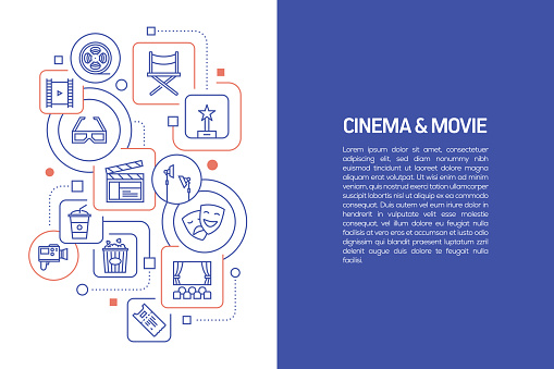 Cinema and Movie Concept, Vector Illustration of Cinema and Movie with Icons