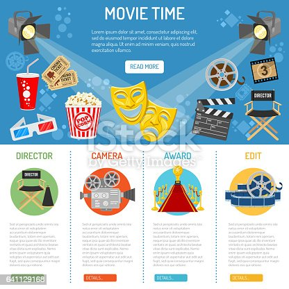 Cinema and Movie time infographics with flat icons theater masks, popcorn, tickets, spotlights, award, vector illustration