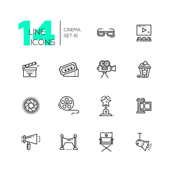 cinema and movie line icons set - oscars stock illustrations, clip art, cartoons, & icons