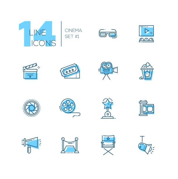 Kino und Film Linie Icons set – Vektorgrafik
