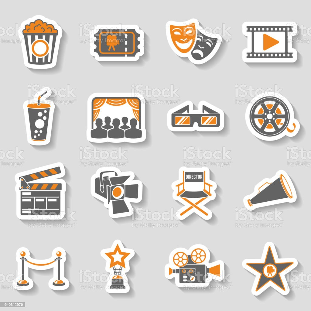 Cinema and Movie sticker Icons Set - Illustration vectorielle