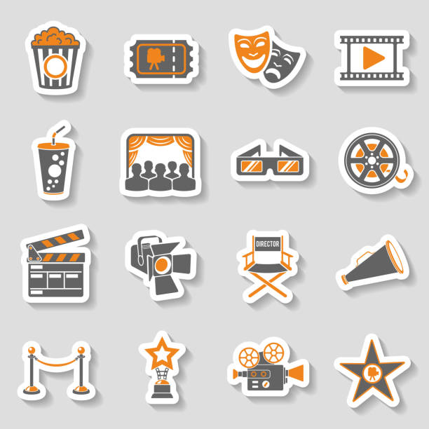 stockillustraties, clipart, cartoons en iconen met cinema and movie sticker icons set - photography curtains
