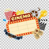 Cinema and Movie time concept with flat icons transparent film, popcorn, signboard, masks, award and tickets. Isolated vector illustration on transparent background