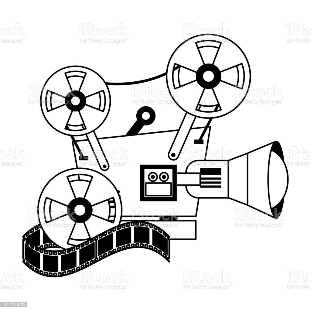 Vetores de Desenhos Animados Do Cinema E Dos Filmes Em Preto E...