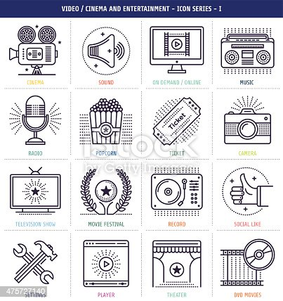 istock Cinema and Music Icons Set 475727140