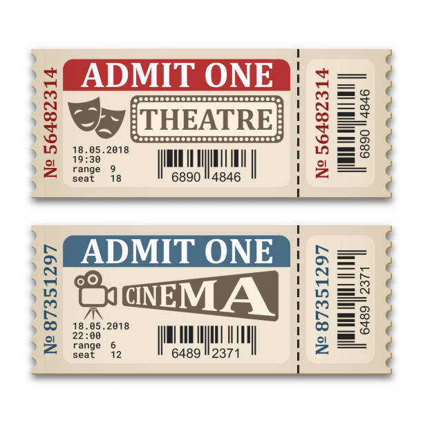 Cinema and theater tickets in retro style. Two admission tickets isolated on white background. Vector illustration Cinema and theater tickets in retro style. Two admission tickets isolated on white background. Vector illustration movie ticket stock illustrations