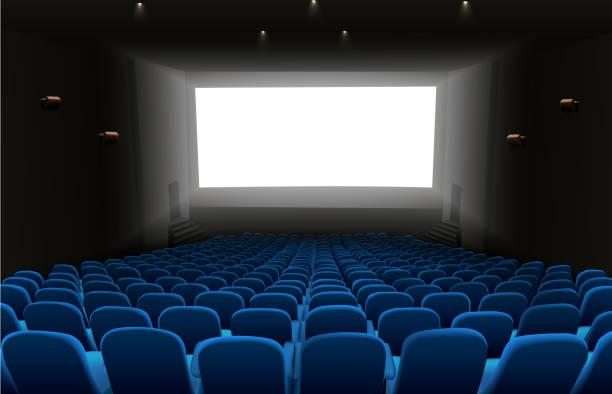 illustrations, cliparts, dessins animés et icônes de cinéma auditorium avec sièges bleus et blanc écran blanc - cinéma