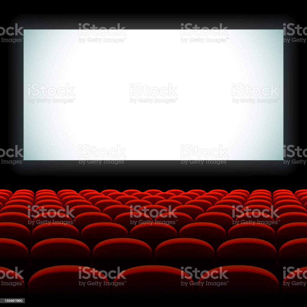 Cinema auditorium with screen and seats vector art illustration