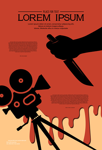 Cinema background for a horror movie festival design. Silhouette of cinema projector and hand holding a knife in a puddle of blood. Retro film festival template. Scary cinema. Horror film night.