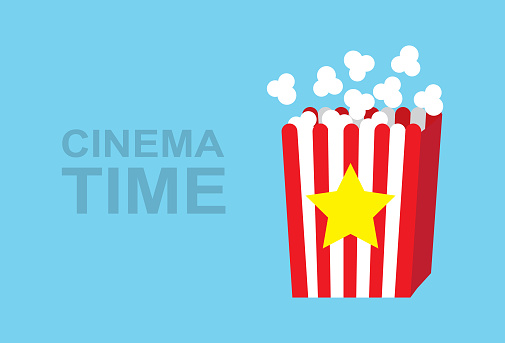Cinema background template with popcorn