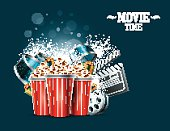 Cinema Background with movie film reel, popcorn and present boxes