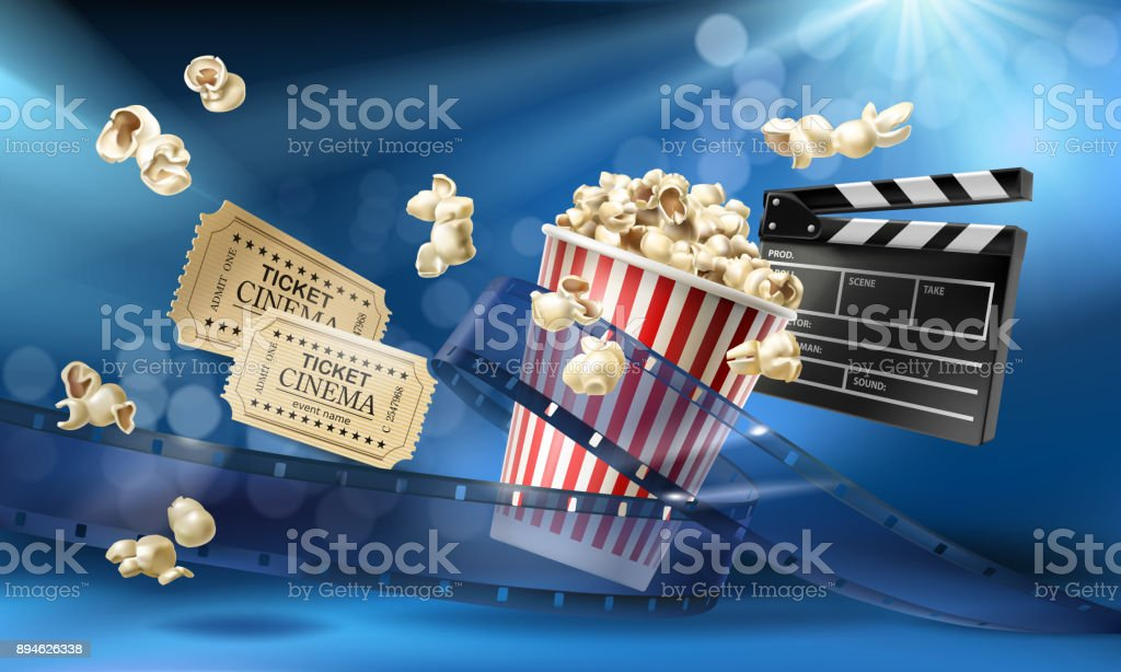 Cinema background with 3d realistic objects vector art illustration