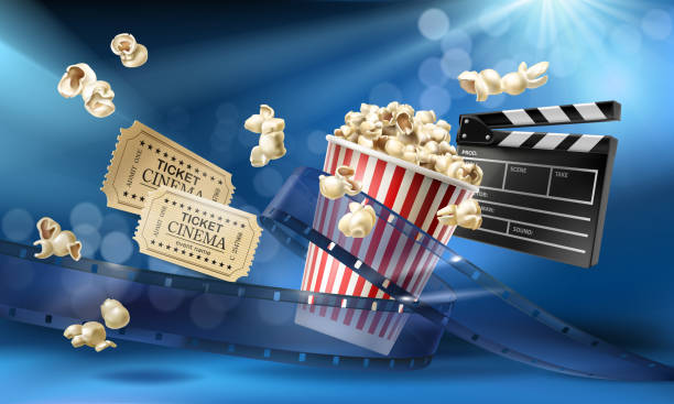 Cinema background with 3d realistic objects Cinema blue background with 3d realistic objects popcorn, tape, tickets and clapperboard. Vector concept colorful illustration with elements of film industry. Template for ad, poster, presentation premiere event stock illustrations