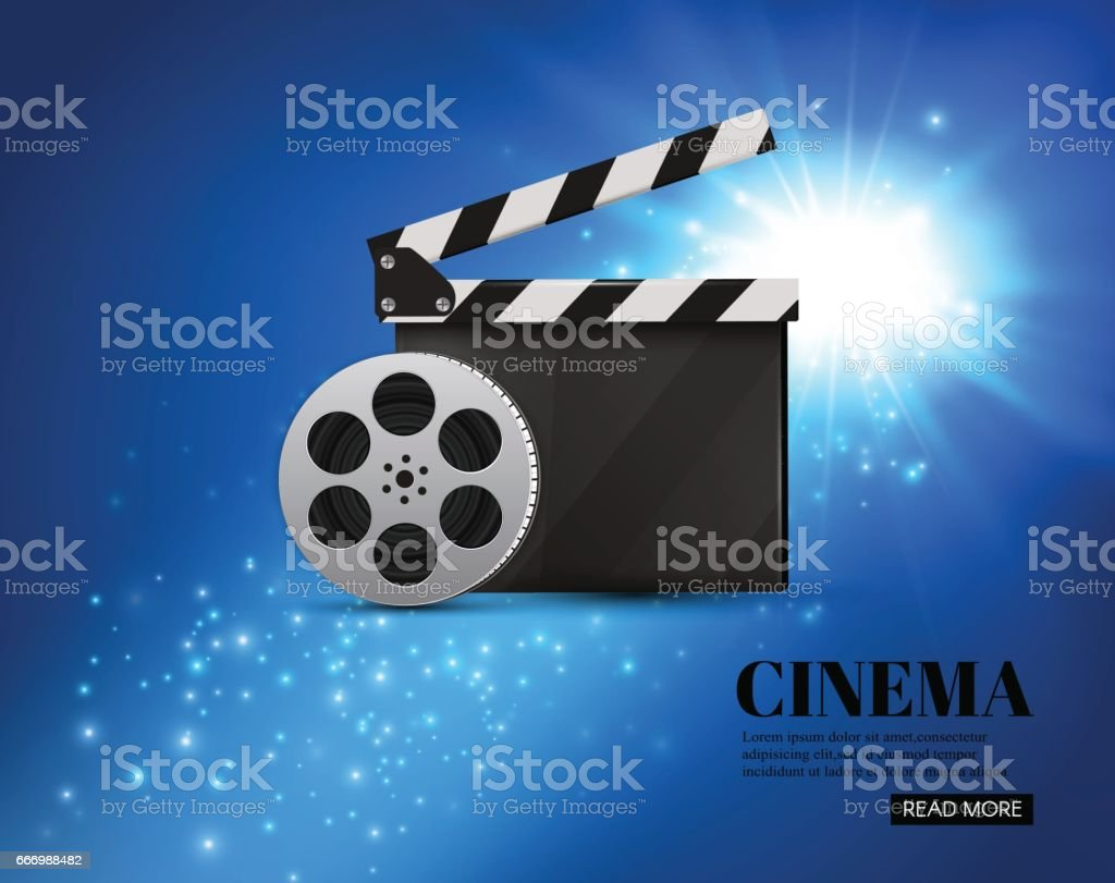 Cinema Background With Movie.Blue background with light star.Clapper Board. Vector Flyer Or Poster vector art illustration