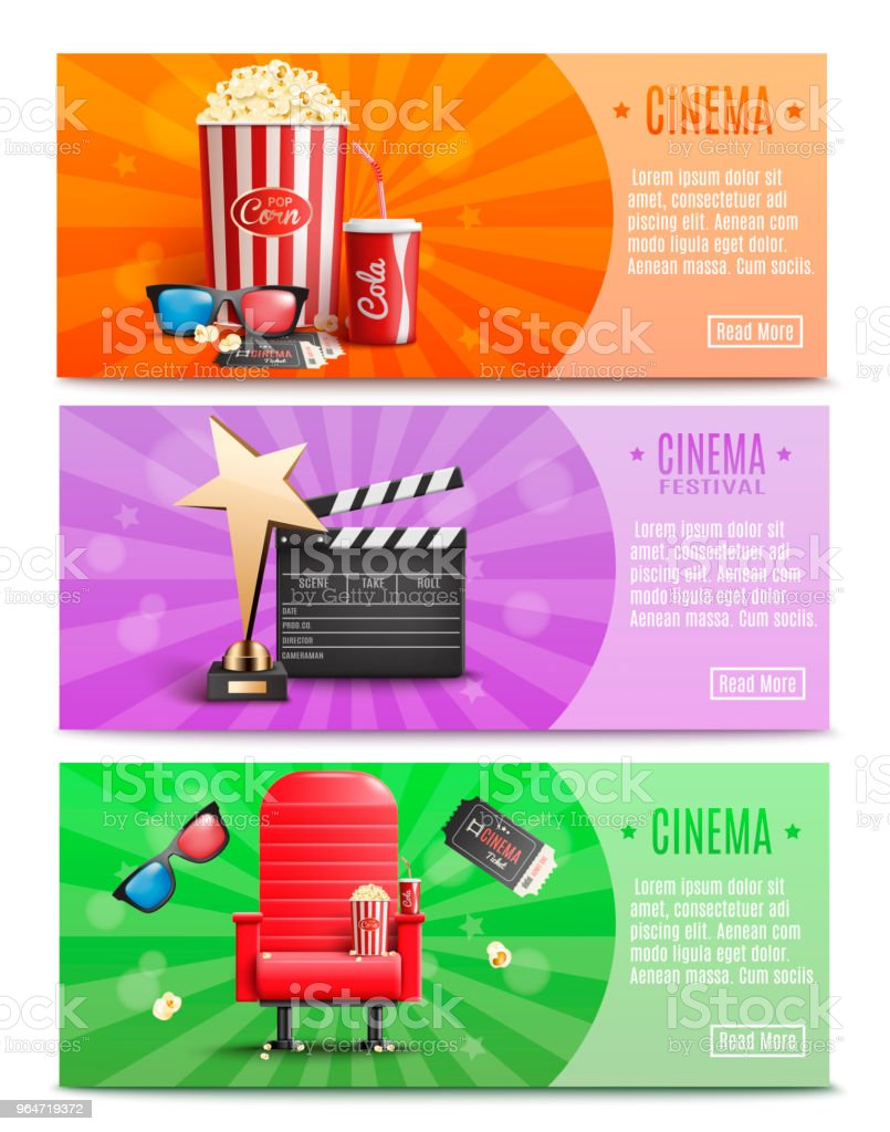3 Cinema Banners with Realistic elements.Vector illustration royalty-free 3 cinema banners with realistic elementsvector illustration stock illustration - download image now