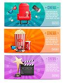3 cinema banners vector illustration