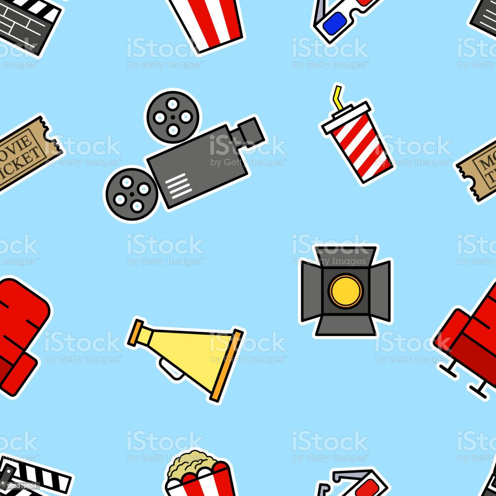 cinema bold outline seamless pattern royalty-free cinema bold outline seamless pattern stock vector art & more images of arts culture and entertainment