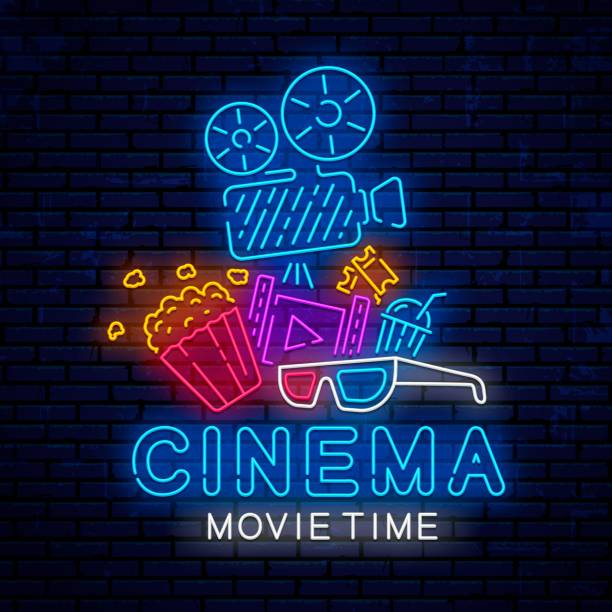 Cinema bright neon signboard. Cinema bright neon sign design. Glowing vector emblem, logo, poster for the design of banners and billboards. Neon sign for cinema and advertising. Ready bright night design for decoration. Movie banner. muziekfestival stock illustrations