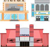 Cinema building vector illustration facade movie entertainment city house architecture theater exterior