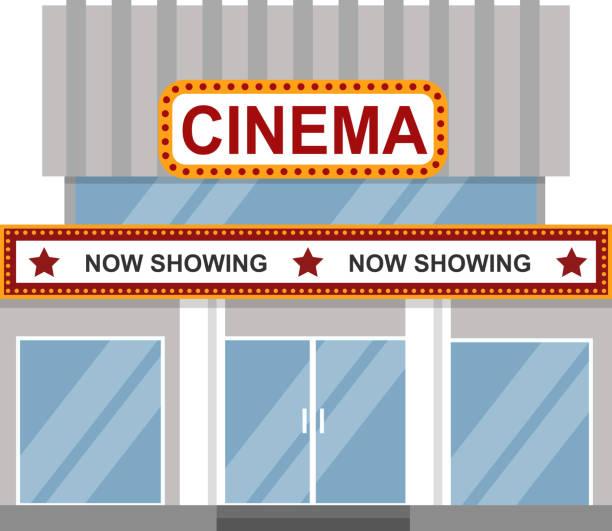 Cinema building vector. Cinema building facade flat style. Movie theater entertainment film exterior house sign. Night vintage design signboard landmark entrance. Premiere life deco performance. temps stock illustrations