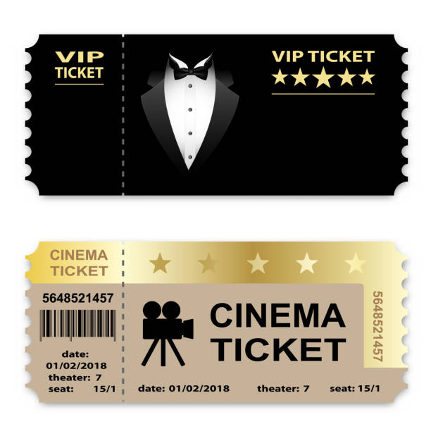Cinema, Business vip tickets isolated on white background. Coupon icon. Cinema, Business vip tickets isolated on white background. Coupon icon. Vector illustration. movie ticket stock illustrations