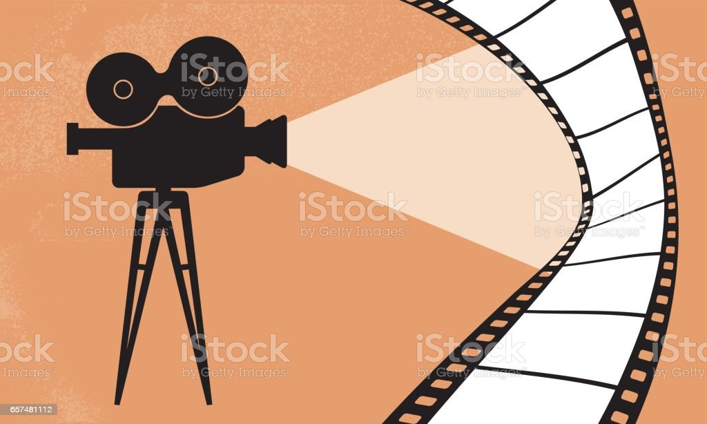 Cinema camera and movie vector illustration vector art illustration