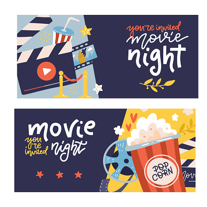 Cinema cartoon horizontal banners set with cinema night symbols. Flat vector hand drawn illustration with lettering quotes