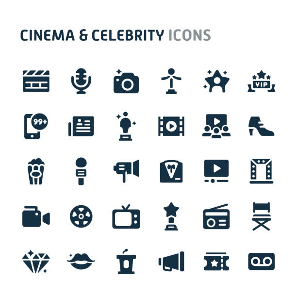 illustrations, cliparts, dessins animés et icônes de cinema & celebrity vector icon set. série d'icônes de fillio black. - camera sculpture