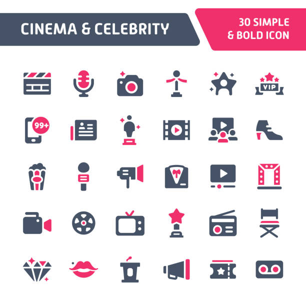 illustrations, cliparts, dessins animés et icônes de cinéma - celebrity vector icon set. - camera sculpture