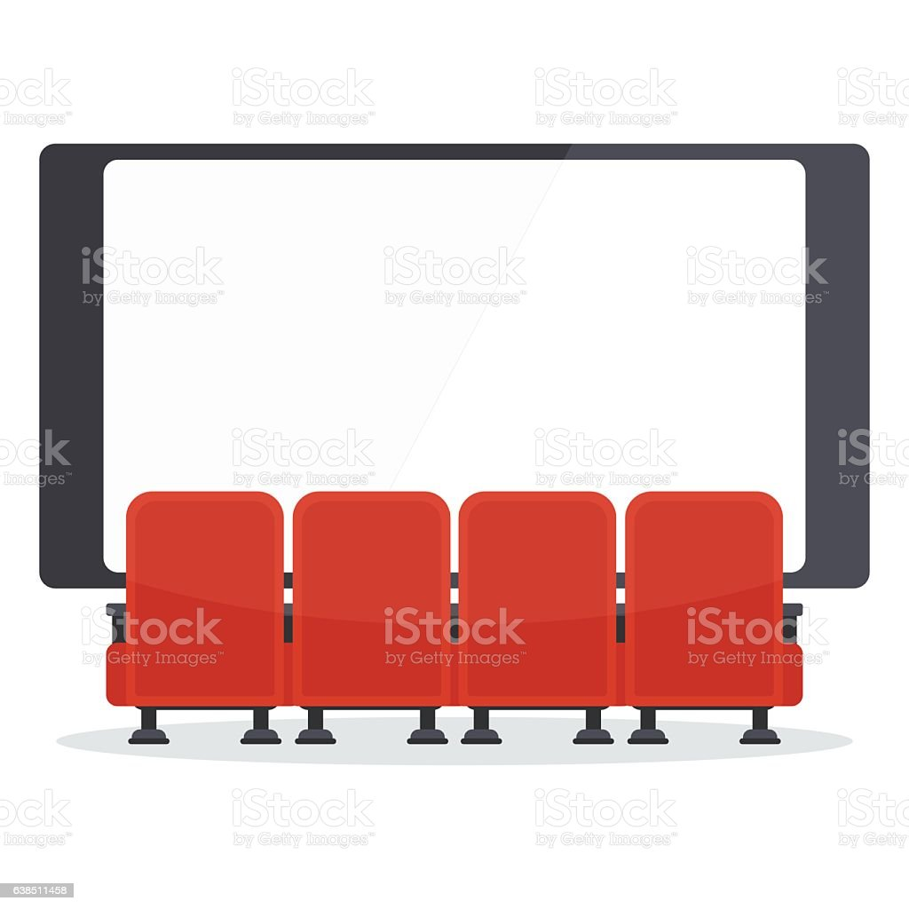 cinema chairs front of tv vector art illustration