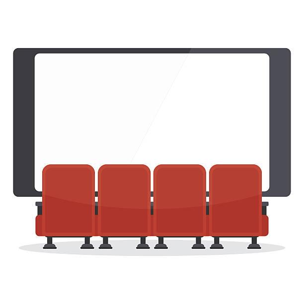 cinema chairs front of tv - fahrzeugsitz stock-grafiken, -clipart, -cartoons und -symbole