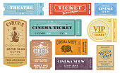 Retro tickets for circus, cinema and movie party, theater and VIP show, vector templates. Carton cardboard vintage retro tickets and admission coupons to funfair carnival with rows and seats