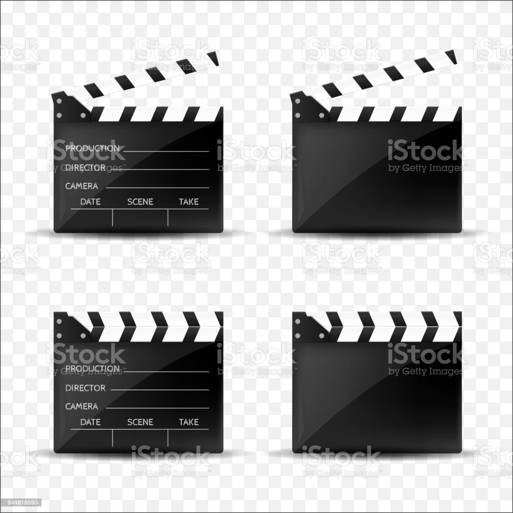 Claquettes de cinéma la valeur isolées. Illustration vectorielle - Illustration vectorielle