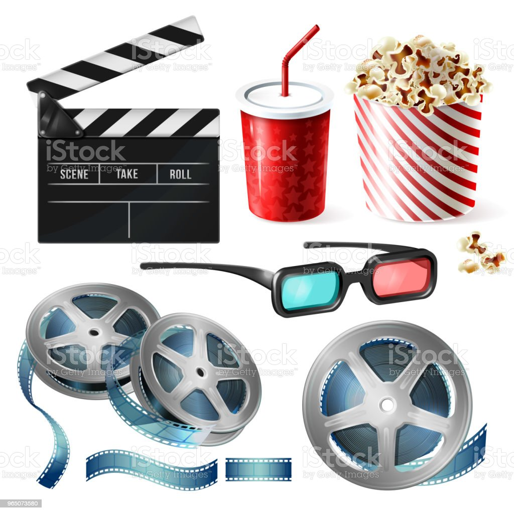 Cinema clipart of 3d vector realistic objects royalty-free cinema clipart of 3d vector realistic objects stock vector art & more images of announcement message